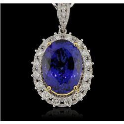14KT White Gold 17.17ct GIA Cert Tanzanite & Diamond Pendant with Chain A5862