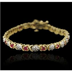 14KT Yellow Gold 1.00ct Ruby and Diamond Bracelet GB3285