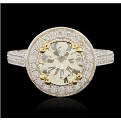 18KT White Gold 2.11ct VS1/Light Yellow Diamond Ring A6491