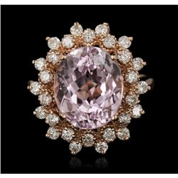 14KT Rose Gold 6.48ct Kunzite and Diamond Ring A7198