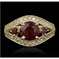 14KT Yellow Gold 3.08ctw Ruby and Diamond Ring A7085