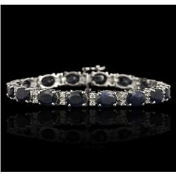 14KT White Gold 22.78ctw Sapphire and Diamond Bracelet GB3660