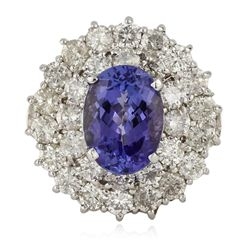 14KT White Gold 3.47ct Tanzanite and Diamond Ring RM1377