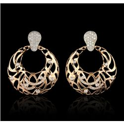 14KT Rose Gold 0.88ctw Diamond Earrings A6879
