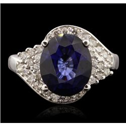 14KT White Gold 5.98ct Sapphire and Diamond Ring A7022