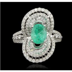 18KT White Gold 1.40ct Emerald and Diamond Ring FJM3189