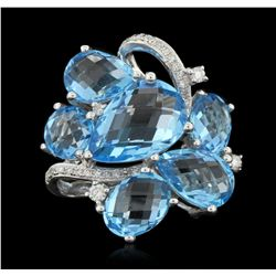 14KT White Gold 10.34ct Blue Topaz and Diamond Ring FJM3206