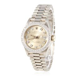 Ladies Rolex 18KT White Gold Diamond DateJust Wristwatch GB2012