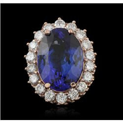 14KT Rose Gold 12.02ct Tanzanite and Diamond Ring A5527