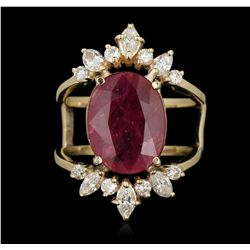14KT Yellow Gold 4.70ct Ruby and Diamond Ring GB3537