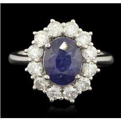 14KT White Gold 3.62ct Blue Sapphire and Diamond Ring PRM81