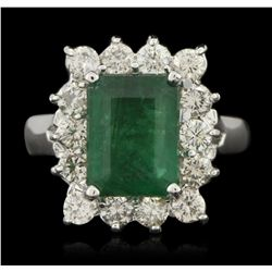 14KT White Gold 2.61ct Emerald and Diamond Ring A6155
