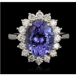 14KT White Gold 3.11ct Tanzanite and Diamond Ring A6652