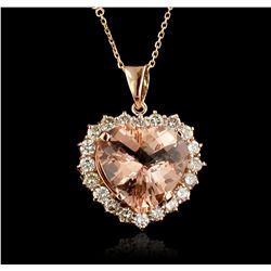14KT Rose Gold 15.71ct GIA Cert Morganite and Diamond Pendant With Chain A6637