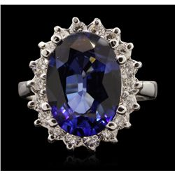 14KT White Gold 7.13ct Sapphire and Diamond Ring A7032