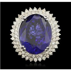 14KT White Gold 36.81ct GIA Cert Tanzanite and Diamond Ring A6258