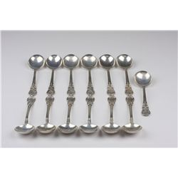 """Vintage Lunt Sterling Silver """"American Victorian"""" Cream Soup Spoons ED1418"""