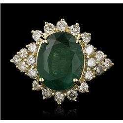 14KT Yellow Gold 7.17ct Emerald and Diamond Ring A7073