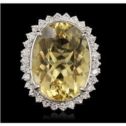 14KT White Gold 16.37ct Citrine and Diamond Ring A6725