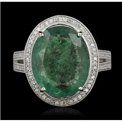 14KT White Gold 6.75ct Emerald and Diamond Ring A5345