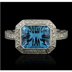 14KT White Gold 2.50ct Blue Topaz and Diamond Ring GB2168