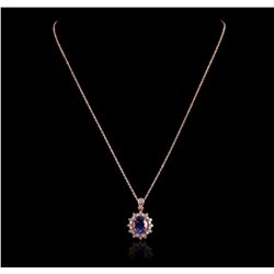 14KT Rose Gold 3.33ct Tanzanite and Diamond Pendant with Chain A5654