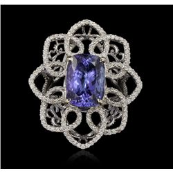 14KT White Gold 6.70ct Tanzanite and Diamond Ring A6671
