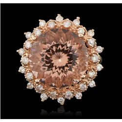 14KT Rose Gold 8.91ct Morganite and Diamond Ring A6168