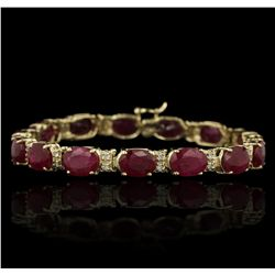 14KT Yellow Gold 30.67ctw Ruby and Diamond Bracelet GB3663