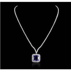 18KT White Gold 12.86ct Tanzanite and Diamond Necklace A5656