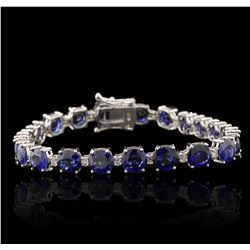 18KT White Gold 17.83ctw Sapphire and Diamond Tennis Bracelet A7169