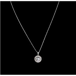 14KT White Gold Pearl & Diamond Pendant with Chain A5287