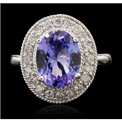 14KT White Gold 2.82ct Tanzanite and Diamond Ring A6791
