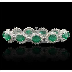 14KT White Gold 31.68ctw Emerald and Diamond Bracelet GB4818