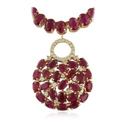14KT Yellow Gold 64.39ctw Ruby and Diamond Necklace RM1368