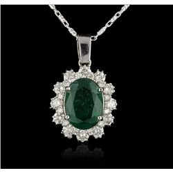 14KT White Gold 4.60ct Emerald and Diamond Pendant with Chain A5363