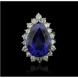 14KT White Gold 16.74ct Tanzanite and Diamond Ring A4290