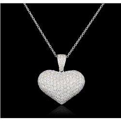 14-18KT White Gold 3.50ctw Diamond Pendant With Chain GB4841