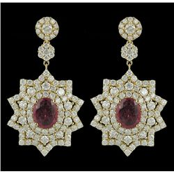 14KT Yellow Gold 4.58ctw Ruby and Diamond Earrings A5048