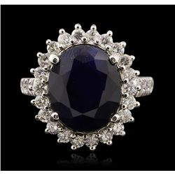14KT White Gold 8.28ct Sapphire and Diamond Ring A7107