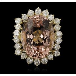 14KT Yellow Gold 11.29ct Morganite and Diamond Ring A7179