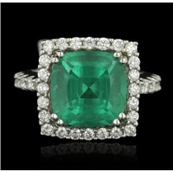 18KT White Gold 6.18ct Emerald and Diamond Ring GB2136