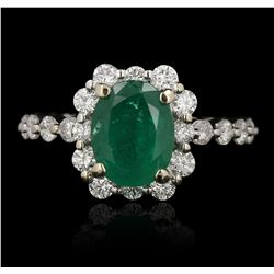 18KT White Gold 2.10ct Emerald and Diamond Ring GB3534