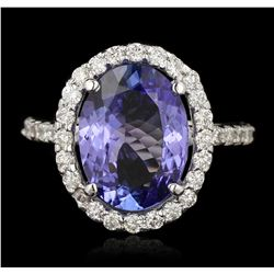 14KT White Gold 4.11ct Tanzanite and Diamond Ring A7015