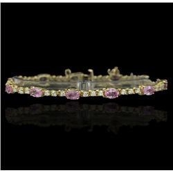 14KT Yellow Gold 8.00ctw Pink Sapphire and Diamond Bracelet GB1829