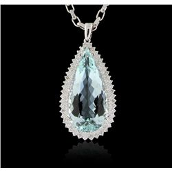 14KT White Gold 36.51ct GIA Certified Aquamarine and Diamond Pendant with Chain A5904