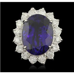 14KT White Gold 23.16ct Tanzanite and Diamond Ring A6300