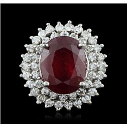 14KT White Gold 10.25 Ruby and Diamond Ring A5729