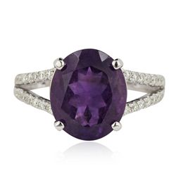 14KT White Gold 4.59ct Amethyst and Diamond Ring A5751
