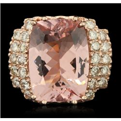 14KT Rose Gold 13.01ct GIA Cert Morganite and Diamond Ring A6402